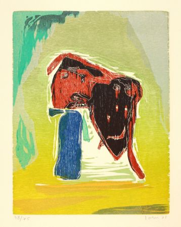 Woodcut Jorn - Rideau convolant
