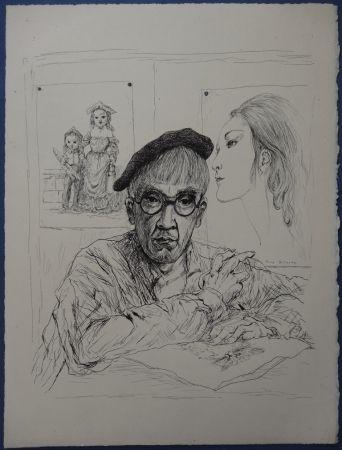 Engraving Foujita - Rivière enchantée - Autoportrait