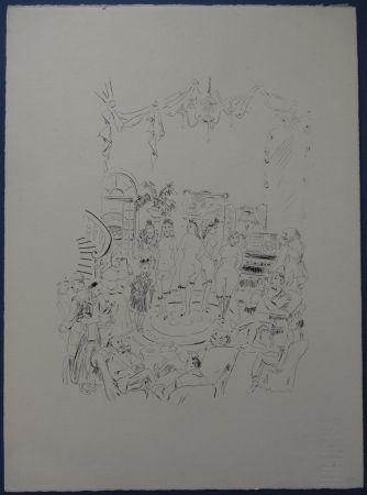 Engraving Foujita - Rivière enchantée - Cabaret