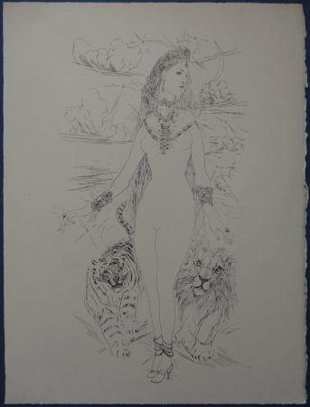 Engraving Foujita - Rivière enchantée - Femme aux félins