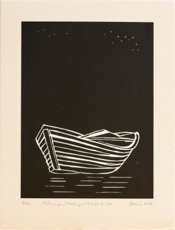 Woodcut Hashmi - Rohingyas: Floating On The Dark Sea