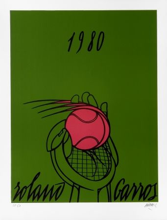 Lithograph Adami - Roland Garros Vert