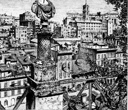 Engraving Disertori - Roma. Veduta del monte Capitolino dagli orti Farnesiani