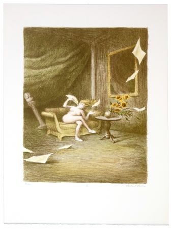 Lithograph Olivier O - Romances Muettes (Lady wind's fan)