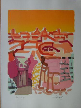 Lithograph Lapicque - Rome -Le Forum