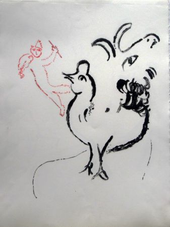 Lithograph Chagall - Rooster, Goat And Fidler - Stage I