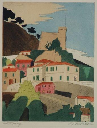 Etching Rathbone - Roquebrune, French Riviera