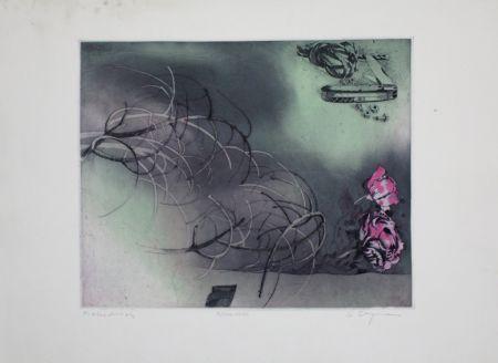 Etching And Aquatint Bergmann - Rosa Rose