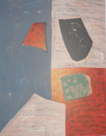 Lithograph Poliakoff - Rose, Rouge et bleue