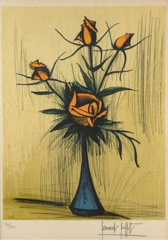 No Technical Buffet - Roses dans un vase bleu. 1979.