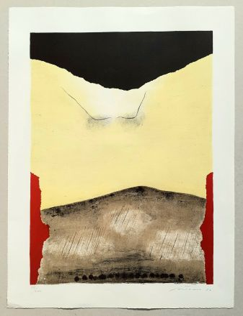 Lithograph Santomaso - Rosso agli angoli