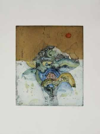 Etching And Aquatint Takahashi - Rote Sonne / Red Sun