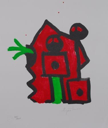Lithograph Ionesco - Rouge au noir