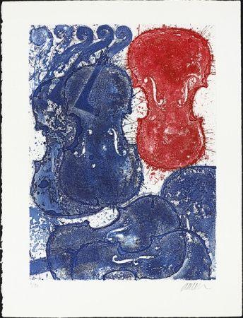 Engraving Arman - Rouge et bleu