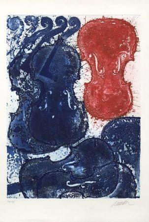 Etching Arman - Rouge et bleu