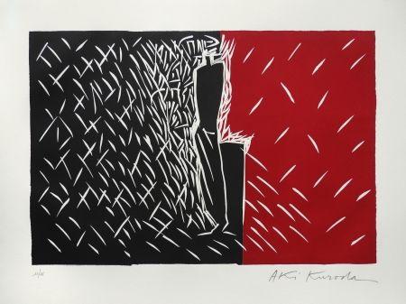 Linocut Kuroda - Rouge et noir