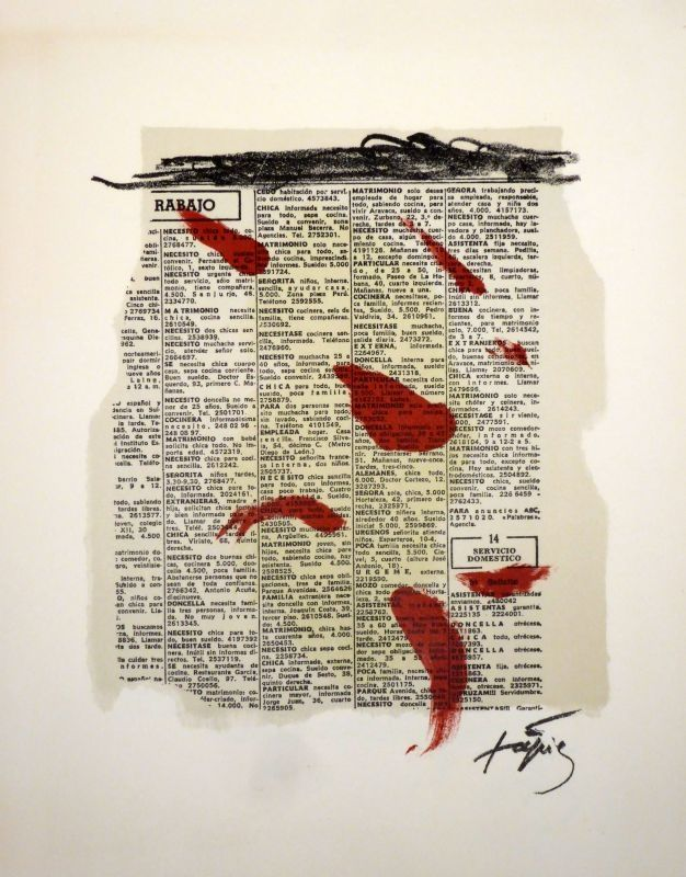 Lithograph Tàpies - Rouge sur papier journal