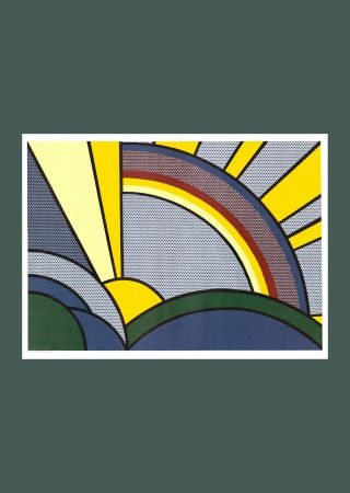 Screenprint Lichtenstein - Roy Lichtenste n 'Modern Painting of Sun Rays' 1972 Original Pop Art Poster with COA
