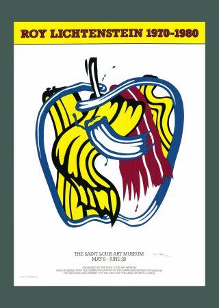 Screenprint Lichtenstein - Roy Lichtenstein 'Apple' 1981 Hand Signed Original Pop Art Poster with COA
