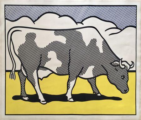 Screenprint Lichtenstein - Roy Lichtenstein 'Cow Going Abstract' 1982 Hand Signed Original Pop Art Diptych Poster Set