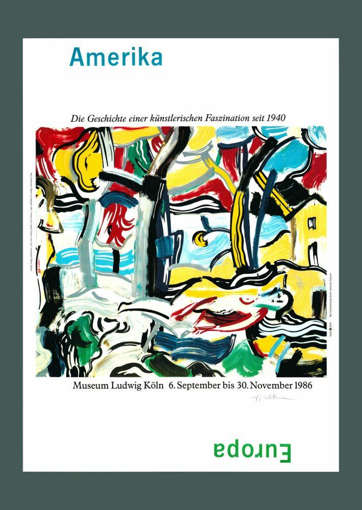 Lithograph Lichtenstein - Roy Lichtenstein 'Figures in Landscape (Amerika/Europa)', Original Pop Art Poster, Hand Signed, 1986