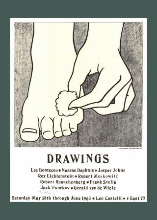 Lithograph Lichtenstein - Roy Lichtenstein 'Foot Medication (Castelli Mailer)', 1963 Hand Signed Original Pop Art Poster
