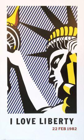Lithograph Lichtenstein - Roy Lichtenstein 'I Love Liberty' 1982 riginal Pop Art Poster
