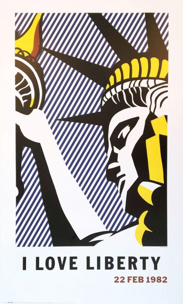 Lithograph Lichtenstein - Roy Lichtenstein 'I Love Liberty' 1982 riginal Pop Art Poster with COA