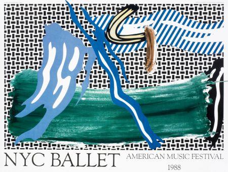 Lithograph Lichtenstein - Roy Lichtenstein 'NYC Ballet' 1988 Original Pop Art Poster