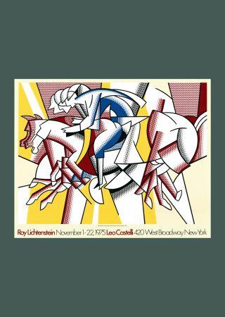 Lithograph Lichtenstein - Roy Lichtenstein 'Red Horseman' 1975 Original Pop Art Poster