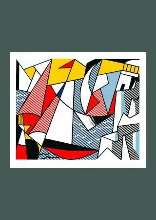 Lithograph Lichtenstein - Roy Lichtenstein 'Sailboats' 1973 Original Pop Art Poster