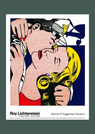 Lithograph Lichtenstein - Roy Lichtenstein 'The Kiss' 1993 Original Poster