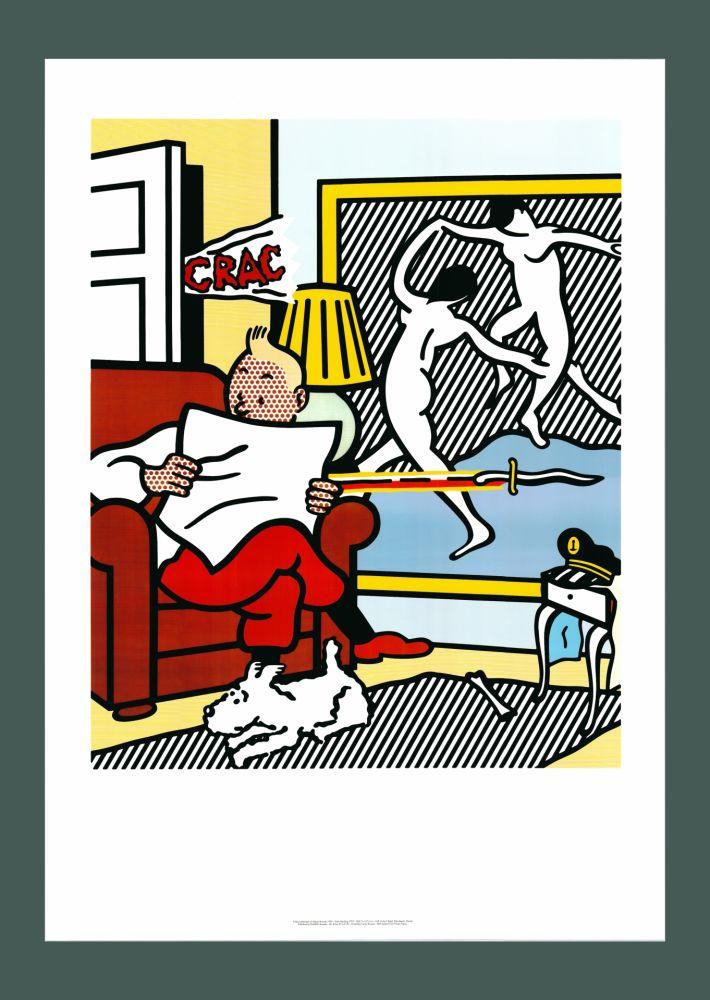 Lithograph Lichtenstein - Roy Lichtenstein 'Tintin Reading' 1994 Original Pop Art Poster