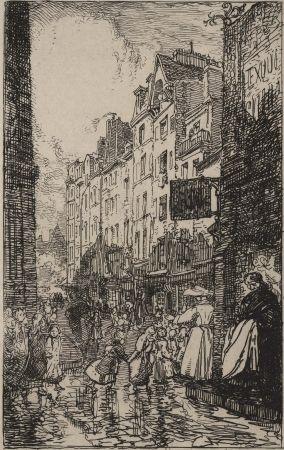 Etching Lepere - Rue Boutebrie, le quartier St. Séverin