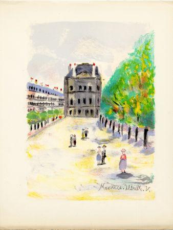 Lithograph Utrillo - RUE DE RIVOLI. (Pavillon de Marsan). Épreuve pour Maurice Utrillo (Paris, 1955)