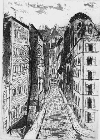 Etching And Aquatint Sassu - Rue elisèe de Beaux-Arts