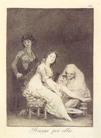 Engraving Goya - Ruega por ella