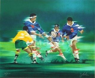 Lithograph Spahn - Rugby