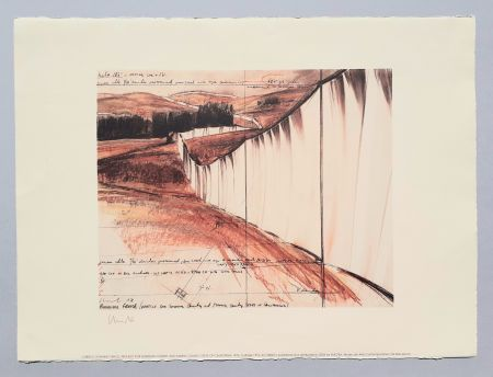 Lithograph Christo - Running fence, project for Sonoma county and Marin county