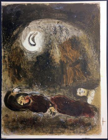 Lithograph Chagall - RUTH AUX PIEDS DE BOOZ. Lithographie originale pour la Bible, 1960.