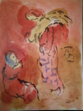 Lithograph Chagall - Ruth glaneuse