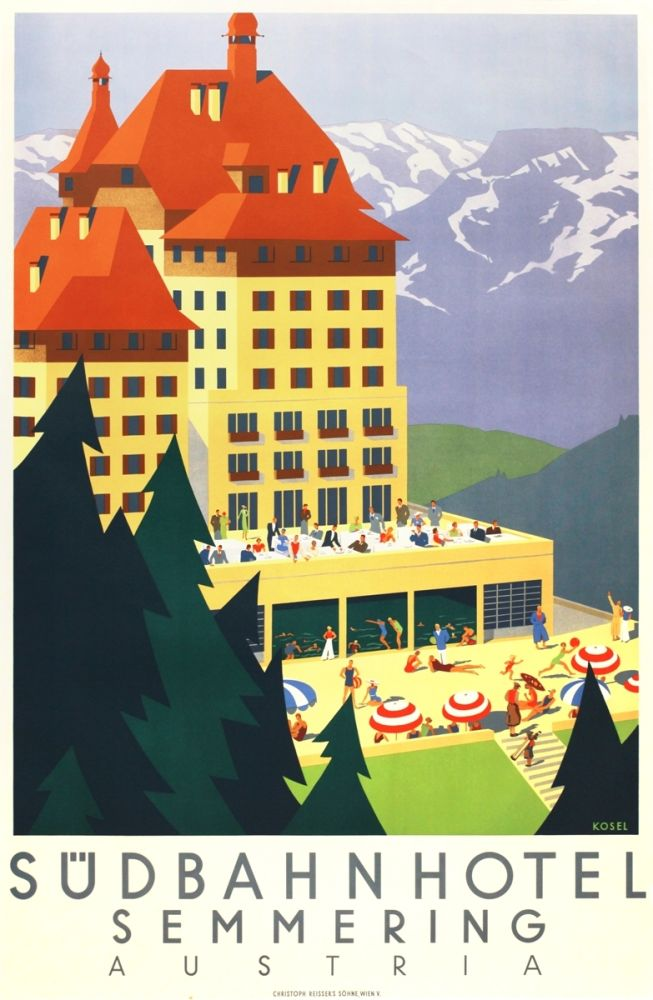 Lithograph Kosel - Südbahnhotel Semmering Austria