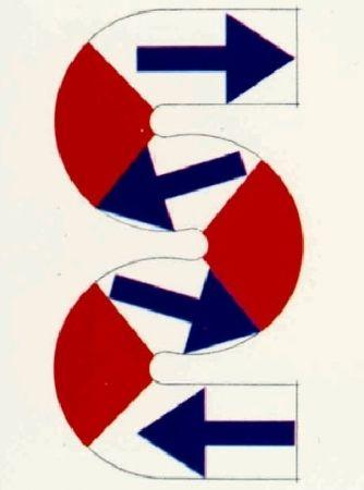 Lithograph Sugai - S (Flèches bleues)