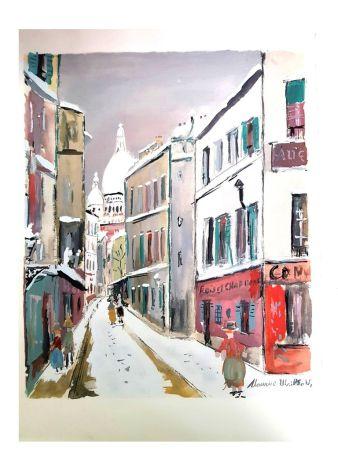Lithograph Utrillo - Sacré Coeur - Village de Montmartre
