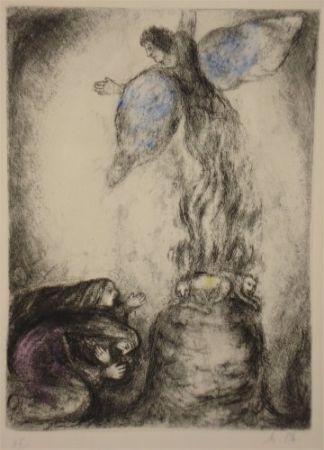 Engraving Chagall - Sacrifice de Manoach