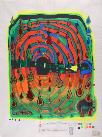 Screenprint Hundertwasser - Sad not so sad is rainshine from Rainday on a rany day
