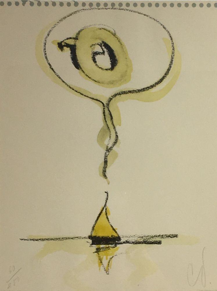 Lithograph Oldenburg - Sailboat Thinking of Q