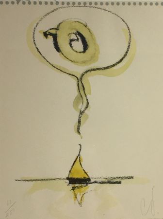 Lithograph Oldenburg - Sailboat Thinking of Q