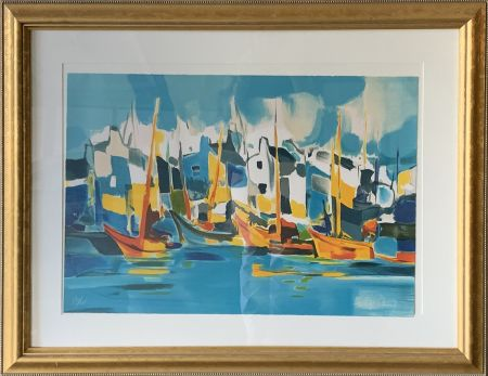 Lithograph Mouly - Sailing the Canals