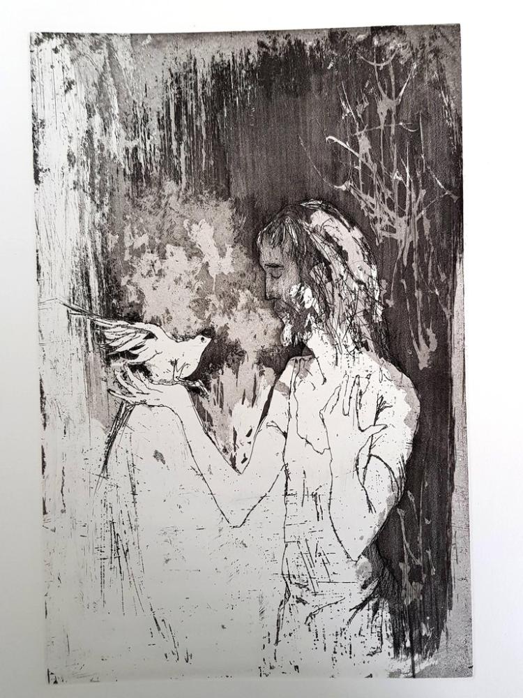 Lithograph Jansem - Saint